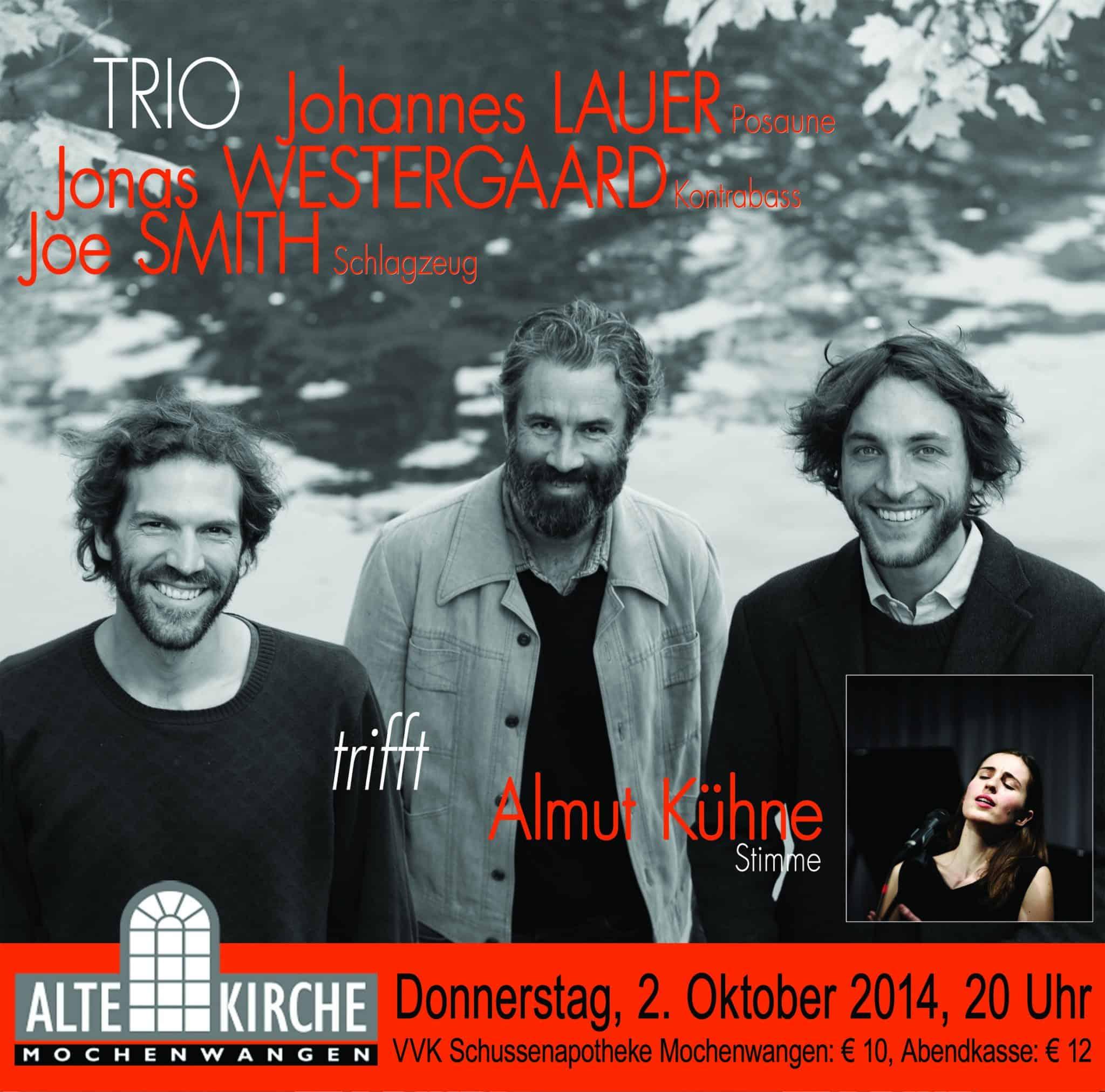 Jazz-Konzert  in der Alten Kirche:  2. Oktober 2014 um 20 Uhr
