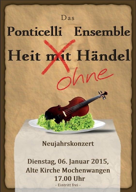 """Neujahrskonzert 2015 des Ponticelli Ensembles: """"Heit ohne Händel"""""""